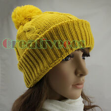 Fashion Women's Striped Solid Color Winter Wool Cap Snow Knitted Warm Beanie Hat