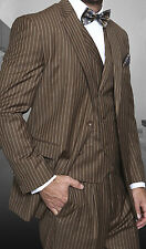 Mens Bronze Or Maroon Pinstripe 3 Piece Designer Suit Double Breasted Vest
