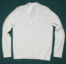 FACONNABLE Mens ANCHOR EMBROIDERY Ivory Cotton Cardigan Sweater Size XL, 2XL