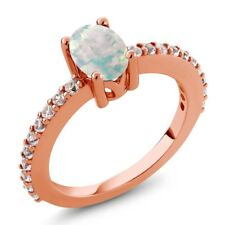 0.93 Ct Oval Simulated Opal Created Sapphire 18K Rose Gold Plated Silver Ring