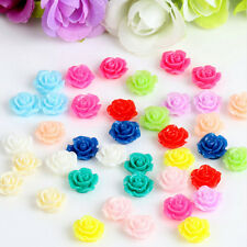 10PCS Vintage Flatbacks Cabochon Rose Flower Resin Lucite Cameo 10MM JG