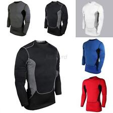 Mens Long Sleeve Compression Base Layer Sports Wear T-Shirts Athletic Tops Gear