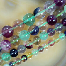 """New 6mm 8mm 10mm 12mm Natural Colorful Fluorite Gemstones Round Beads 15"""""""