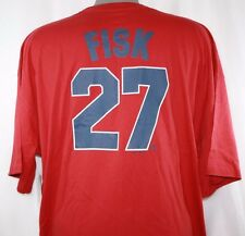 NEW Mens MAJESTIC Boston RED SOX Carlton FISK #27 Cooperstown Collection T-Shirt