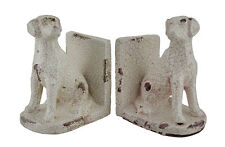 2 Pc. Sitting Lab Dog Off-White Distressed Crackle Finish Ceramic Bookend Set