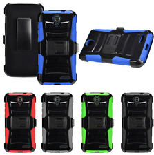 For ZTE Warp 7 Rugged Holster Belt Clip Stand Combo Hard Cover Phone Case