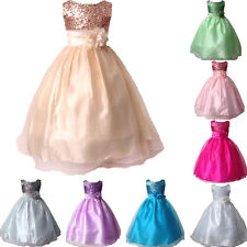 Girls Shiny Sequin Flower Wedding Bridesmaid Dress Princess Party Gown 3-11Y