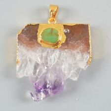 Rare Amethyst Druzy Slice & Genuine Turquoise Pendant Bead Gold Plated H80312