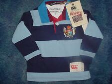 NEW KIDS BOYS CANTERBURY NEW ZEALAND RUGBY POLO SHIRT STRIPED BLUE SIZE 2