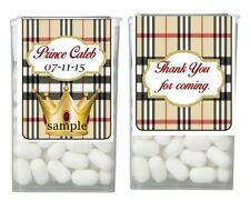 28 BURBERRY PLAID Tartan CROWN Personalized Birthday Party Favor TIC TAC LABELS