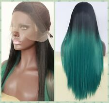 Black to dark green ombre lace front synthetic hair wig womens straight hair wig