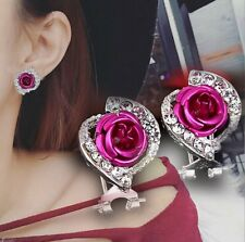 Vogue Women Lady Elegant Flower Crystal Rhinestone Ear Stud Earrings Jewelry