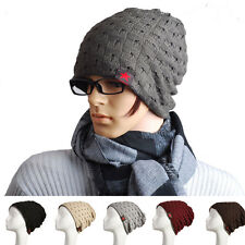 Women Winter Skull Men Knit Beanie Reversible Baggy Wool Caps Warm Unisex Hats