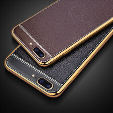 For iPhone 7 Plus Thin Leather Electroplate Silicone Bumper TPU Case Cover Skin
