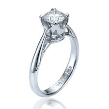 0.75ct E-SI1 Enhanced Diamond Antique Engagement Ring 18K White Gold SIZE 5.75