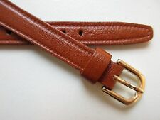 Brown plain stitched open end XL leather watch band
