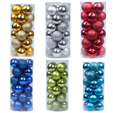 24X 60MM 30MM CHRISTMAS TREE BAUBLES XMAS DECORATION BAUBLE SHATTERPROOF GLITTER