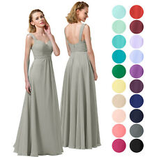 Long Chiffon Bridesmaid Dress A-Line Party Prom Gown Evening Dresses UK Stock