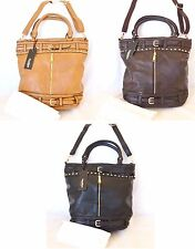 NEW BOSALINA BROWN+BLACK LEATHERETTE+STUD CROSSBODY,TOTE,PURSE,HAND+DUST BAG