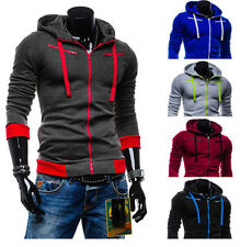Mens Stylish Hoodies Slim Fit Sweater Casual Zipper Hooded Fleece Jacket Coats h