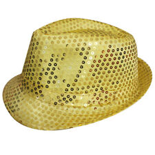 GOLD UNISEX SEQUIN FEDORA HAT TRILBY MJ FANCY DRESS HEN PARTY STAG DO GANGSTER