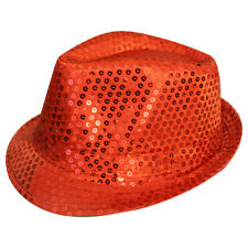 RED UNISEX SEQUIN FEDORA HAT TRILBY MJ FANCY DRESS HEN PARTY STAG DO GANGSTER