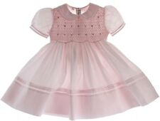 Girls Pink Smocked Portrait Dress with Collar Sash Feltman Brothers Baby Clothes