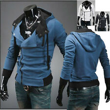 Mens Slim Casual Hoodies Hooded Sport Jacket Sweatshirt Zip Cardigan Coat M~6XL