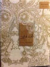 "Nicole Miller Shimmer Gold on White Paisley Floral Scroll Tablecloth  70"" & 102"""