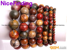 Handmade Natural Picasso Jasper Gemstone Beaded Elastic Bracelets Jewelry Gifts