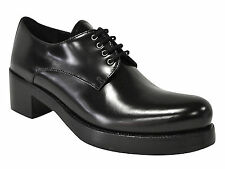 Prada women's fashion lace-up shoes in black shiny calf leather made in Italy