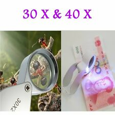30X/40X Glass Magnifying Magnifier Jeweler Eye Jewelry Loupe Loop SE