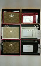 NWT COACH MINI SKINNY SIGNATURE  KHAKI FABRIC W/ RED, CHALK , OR BROWN LEATHER