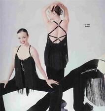 JAZZ  DANCE COSTUME TAP ARTSTONE BLACK FRINGE JUMPSUIT PAGEANT SKATE FURY