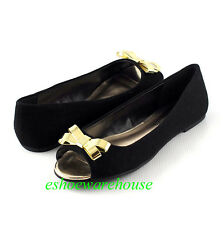 Black Linen Sweet Cutie Pie Open Toe Gold Ribbon Accent Slip on Ballet Flats