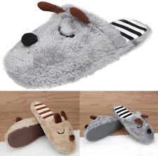 Winter Women Man Coral Velvet Warm Shoes Cute Dog Soft Indoor Home Slippers