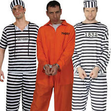 Convict Robber Mens Stag Fancy Dress Prisoner Suit Uniform Party Adult Costume