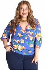 121AVENUE Gorgeous Ruched Flower Top 1X 2X 3X Women Plus Size Blue USA