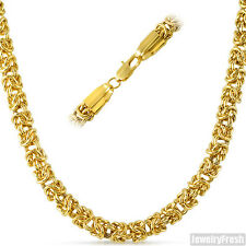 6mm Jumbo Heavy 14K IP Byzantine Chain Mens Necklace
