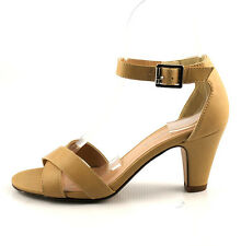 Taupe Leatherette Cutie Chic Must Have Mid Heel Ankle Strap Sandals Closed Back