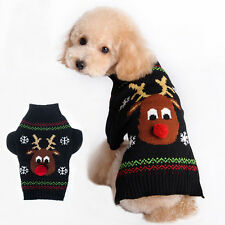 Pet Dog Christmas Clothes Costumes Puppy Cat Knit Sweater Coat Hoodie Apparel JG