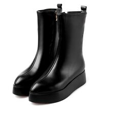 Bew Womens Wedges Genuine Leather Pointed Toe Platform Mid Calf Boots Shoes Size