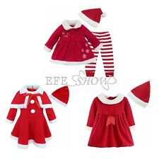 Infant Baby Santa Girl Cute Outfit Set Party Dress Christmas Clothing Xmas Gift