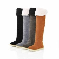 womens casual creeper fur trim cuffed faux suede flat over knee high snow boots