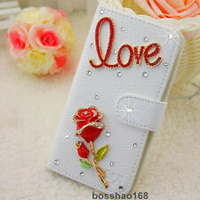 Bling Luxury love red rose flower Diamonds Crystal PU Leather flip Cover Case #C