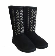 Montana West Winter Boots Womens Silver Floral Conchos Metal Cross Stitch Black