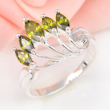 Unique Jewelry Gift Natural Shiny Olive Peridot Gems Silver Lady Ring Size 7 8 9