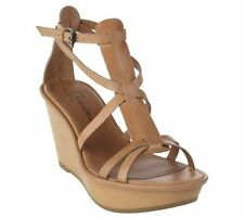 LN $150 B Makowsky WICK Leather Ankle T-Strap Platform Wedge NATURAL Sandals 10