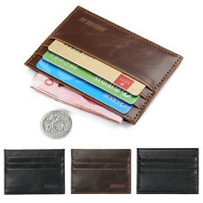 Men Crazy Horse Leather Slim Credit ID Card Holder Wallet Case Purse Bag Pouch