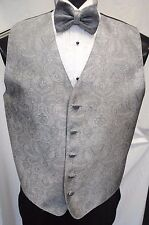 Brandon Michael Silver Paisley Tuxedo Vest and Bow Tie Size Medium